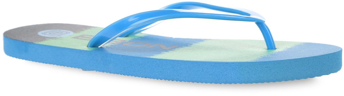 Сланцы женские Baon, цвет: зеленый, голубой. B405003. Размер 40B405003Яркие женские сланцы от Baon очаруют вас с первого взгляда. Верх модели изготовлен из ПВХ. Верхняя поверхность подошвы оформлена оригинальным принтом и названием бренда. Ремешки с перемычкой гарантируют надежную фиксацию модели на ноге. Рифление на верхней поверхности подошвы предотвращает выскальзывание ноги. Рельефное основание подошвы обеспечивает уверенное сцепление с любой поверхностью. Удобные сланцы прекрасно подойдут для похода в бассейн или на пляж.