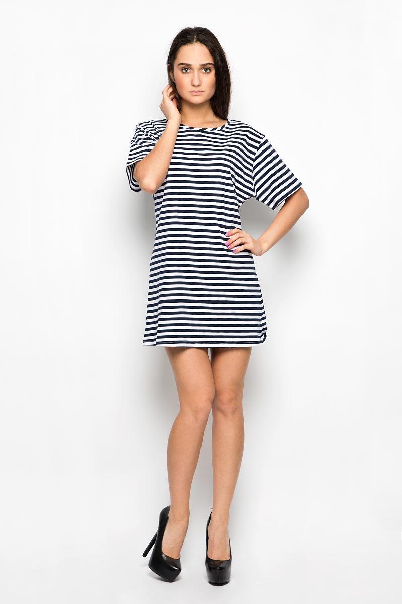 Платье Glamorous, цвет: темно-синий, белый. CK1227A. Размер S (44)CK1227AПлатье Glamorous станет стильным дополнением к вашему гардеробу. Выполненное из мягкого эластичного хлопка, оно очень приятное на ощупь, не сковывает движений, хорошо вентилируется, обеспечивая комфорт. Модель свободного кроя с круглым вырезом горловины и короткими рукавами оформлена контрастным принтом в полоску. Это эффектное платье поможет создать яркий и привлекательный образ!