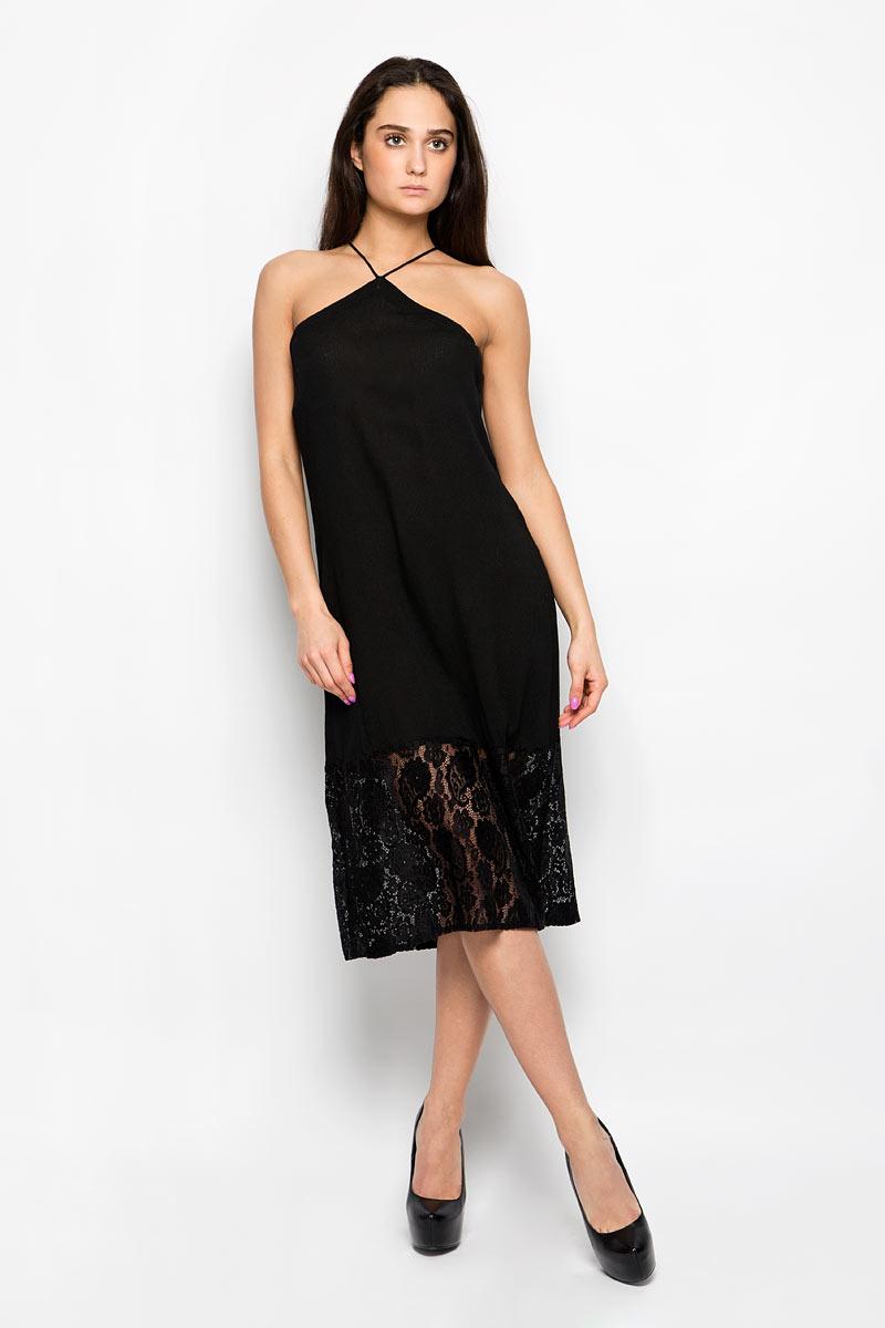Платье Glamorous, цвет: черный. KA4914. Размер M (46)KA4914_Black LaceПлатье Glamorous станет эффектным дополнением к вашему гардеробу. Изделие выполнено из мягкой вискозы, легкое, очень приятное к телу, не сковывает движения и хорошо пропускает воздух. Модель с тонкими бретельками дополнена снизу кружевной вставкой. На спинке платья предусмотрена небольшая шнуровка. Современный дизайн и совершенство стиля подчеркнут вашу индивидуальность.