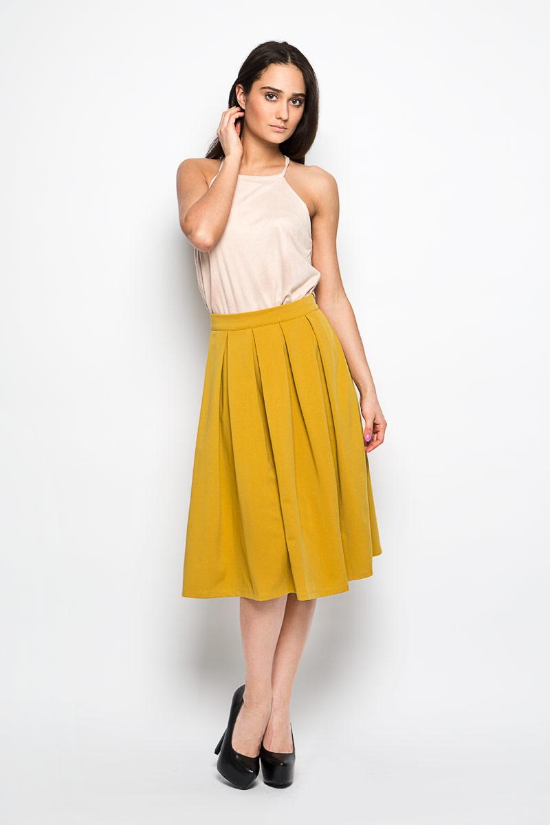 Юбка Glamorous, цвет: горчичный. KA4986. Размер M (46)KA4986 ACID YELLOWЭффектная юбка Glamorous поможет создать оригинальный женственный образ. Изготовленная из высококачественного эластичного материала, она не сковывает движения и обеспечивает удобство при носке.Модель А-силуэта имеет пришивной пояс и застегивается сзади на застежку-молнию. От пояса заложены крупные складки, придающие изделию пышность. Стильная юбка займет достойное место в вашем гардеробе и будет дарить вам комфорт в течение всего дня.