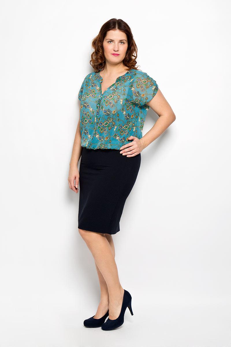 Блузка женская Milana Style, цвет: бирюзовый, бежевый, зеленый. 1476-221м_цепи. Размер 481476-221м_цепиКрасивая блузка Milana Style, изготовленная из полупрозрачной легкой ткани, подчеркнет ваш уникальный стиль. Изделие тактильно приятное, не сковывает движения и хорошо вентилируется. Блузка с фигурным вырезом горловины и короткими рукавами дополнена декоративной планкой с пуговицами по всей длине. Рукава сверху собраны при помощи хлястиков с пуговицами. Низ изделия присборен на тонкие эластичные резинки, образующие мелкие складки. Модель оформлена оригинальным принтом. Такая блузка будет дарить вам комфорт в течение всего дня и послужит замечательным дополнением к гардеробу.