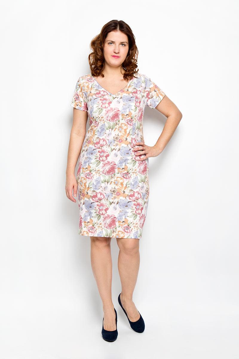 Платье Milana Style, цвет: белый, розовый, сиреневый. 1640-642м_цветы. Размер 481640-642м_цветыПлатье Milana Style поможет создать яркий и красивый образ. Платье выполнено из мягкой эластичной вискозы, приятное к телу, не сковывает движений, хорошо пропускает воздух, обеспечивая комфорт.Модель с V-образным вырезом горловины и короткими рукавами застегивается по спинке на скрытую молнию. Сзади предусмотрен небольшой разрез. Оформлено изделие цветочным принтом. Такое платье станет ярким и модным дополнением к вашему гардеробу!