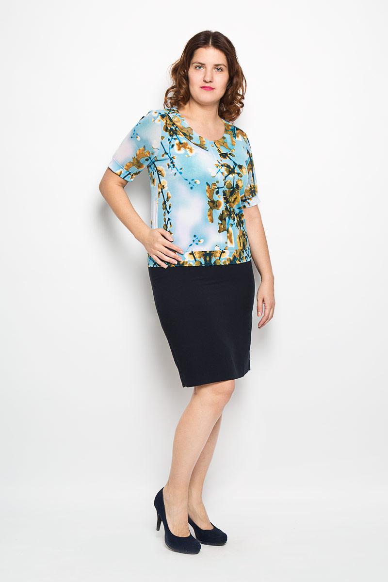 Блузка женская Milana Style, цвет: голубой, коричневый, оливковый. 1368-625м. Размер 481368-625мОчаровательная женская блузка Milana Style, выполненная из высококачественного материала, подчеркнет ваш уникальный стиль и поможет создать оригинальный женственный образ. Материал очень легкий, мягкий и приятный на ощупь, не сковывает движения и хорошо вентилируется. Блузка с рукавами до локтя и круглым вырезом горловины оформлена оригинальным принтом. Вырез горловины дополнен имитацией отложного воротника. Лицевая сторона блузки декорирована планкой с эффектом застежки на пуговицы. Рукава из полупрозрачного материала фиксируются эластичными манжетами. Красочный принт придаст яркости и романтичности вашему образу.Такая блузка будет дарить вам комфорт в течение всего дня и послужит замечательным дополнением к вашему гардеробу.