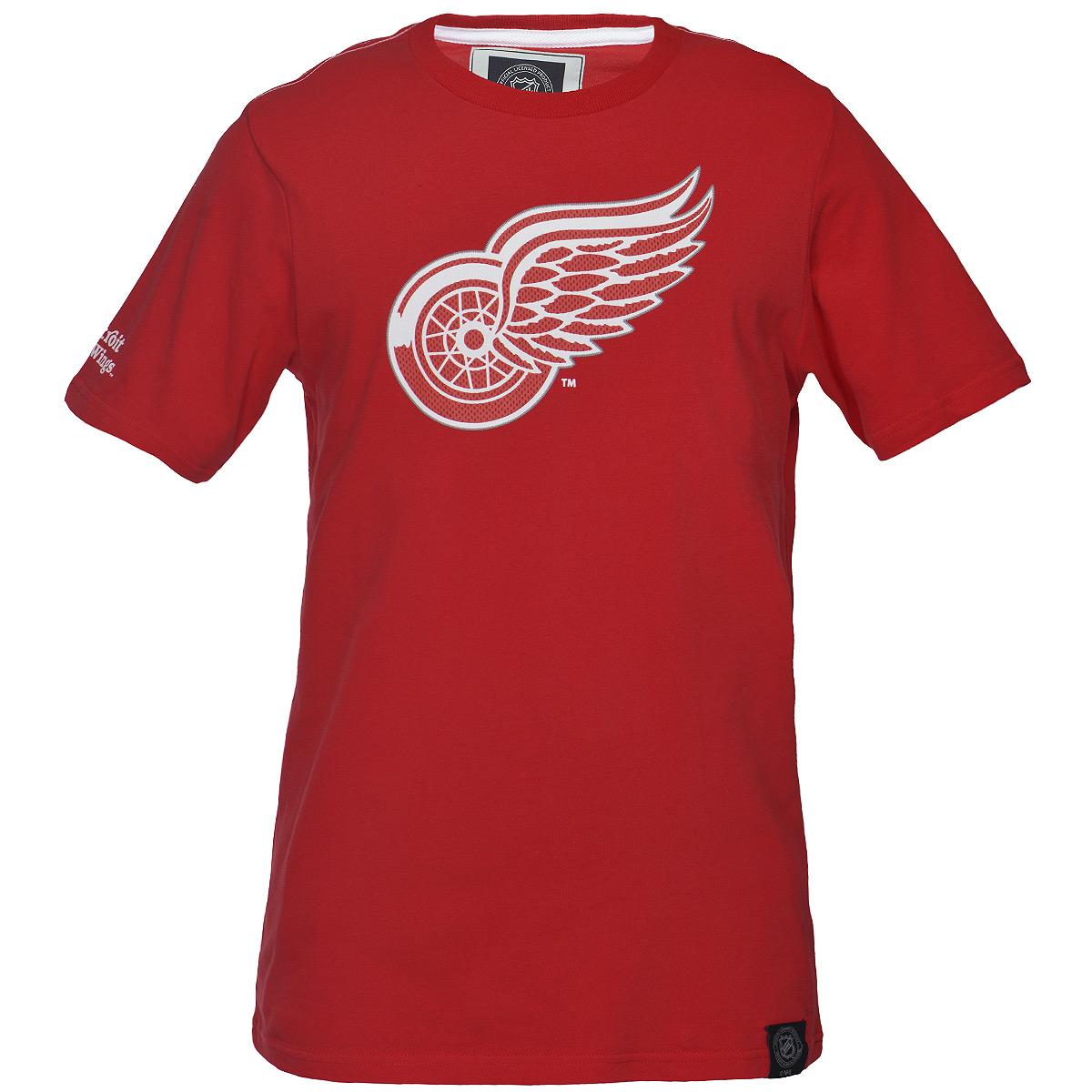 Футболка мужская NHL Detroit Red Wings, цвет: красный. 29160. Размер S (46)29160Мужская футболка NHL Detroit Red Wings, выполненная из натурального хлопка, порадует любого поклонниказнаменитого хоккейного клуба. Материал очень мягкий и приятный на ощупь, не сковывает движения ипозволяет коже дышать. Футболка с короткими рукавами имеет круглый вырез горловины, дополненный трикотажной резинкой.Изделие оформлено термоаппликацией в виде эмблемы хоккейного клуба Detroit Red Wings, а также украшенонебольшой текстильной нашивкой.Такая модель отлично подойдет для повседневной носки и подарит вам комфорт в течение всего дня! УВАЖАЕМЫЕ КЛИЕНТЫ! Обращаем ваше внимание на возможные незначительные изменения в дизайне нашивки.