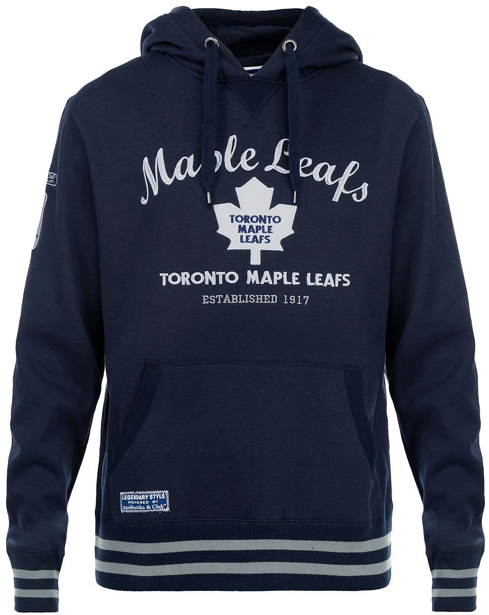 Толстовка мужская NHL Toronto Maple Leafs, цвет: темно-синий. 35360. Размер XL (52)35360Мужская толстовка NHL Toronto Maple Leafs, выполненная из хлопка с добавлением полиэстера, порадует любого поклонника знаменитого хоккейного клуба. Материал очень мягкий и приятный на ощупь, не сковывает движения ипозволяет коже дышать. Лицевая сторона гладкая, а изнаночная - с мягким теплым начесом.Толстовка с капюшоном на кулиске спереди имеет вместительный карман-кенгуру. На груди модель оформлена аппликацией в виде эмблемы хоккейного клуба Toronto Maple Leafs и вышивками в виде надписей. Толстовка имеет широкую мягкую резинку по низу, что предотвращает проникновение холодного воздуха, и длинные рукава с широкими эластичными манжетами, не стягивающими запястья. Эта модная и в то же время комфортная толстовка отличный вариант как для активного отдыха, так и для занятий спортом.