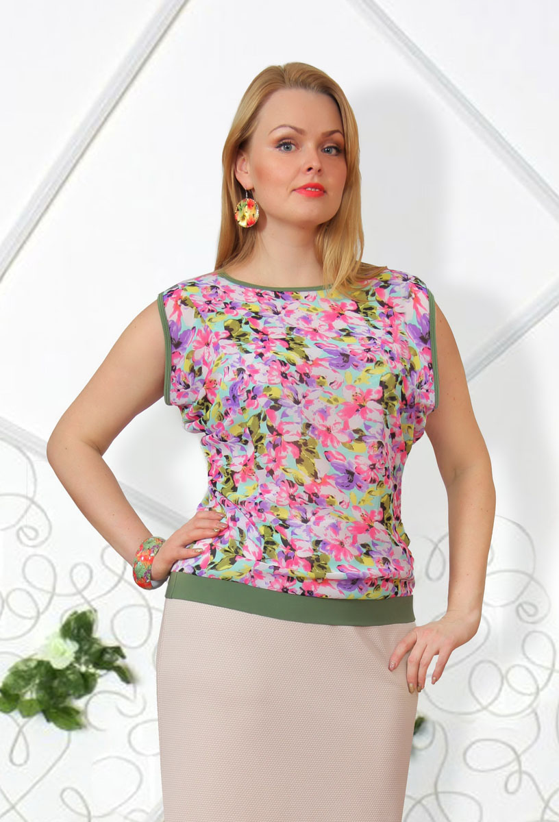 Блузка женская Milana Style, цвет: болотный, розовый, бирюзовый, сиреневый. 725м. Размер 50725мСтильная женская блузка Milana Style, выполненная из качественного материала, подчеркнет ваш уникальный стиль и поможет создать женственный образ. Модель с короткими рукавами оригинального кроя и круглым вырезом горловины оформлена ярким цветочным принтом. Такая блузка будет дарить вам комфорт в течение всего дня и послужит замечательным дополнением к вашему гардеробу.