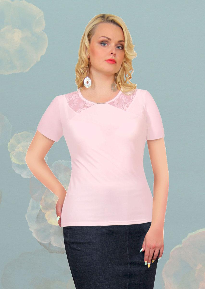 Блузка женская Milana Style, цвет: розовый. 887м. Размер 54887мСтильная женская блузка Milana Style, выполненная из качественного материала, подчеркнет ваш уникальный стиль и поможет создать женственный образ. Модель с короткими рукавами и круглым вырезом горловины оформлена вставками из гипюра. Вырез горловины украшен оригинальным декоративным элементом. Такая блузка будет дарить вам комфорт в течение всего дня и послужит замечательным дополнением к вашему гардеробу.