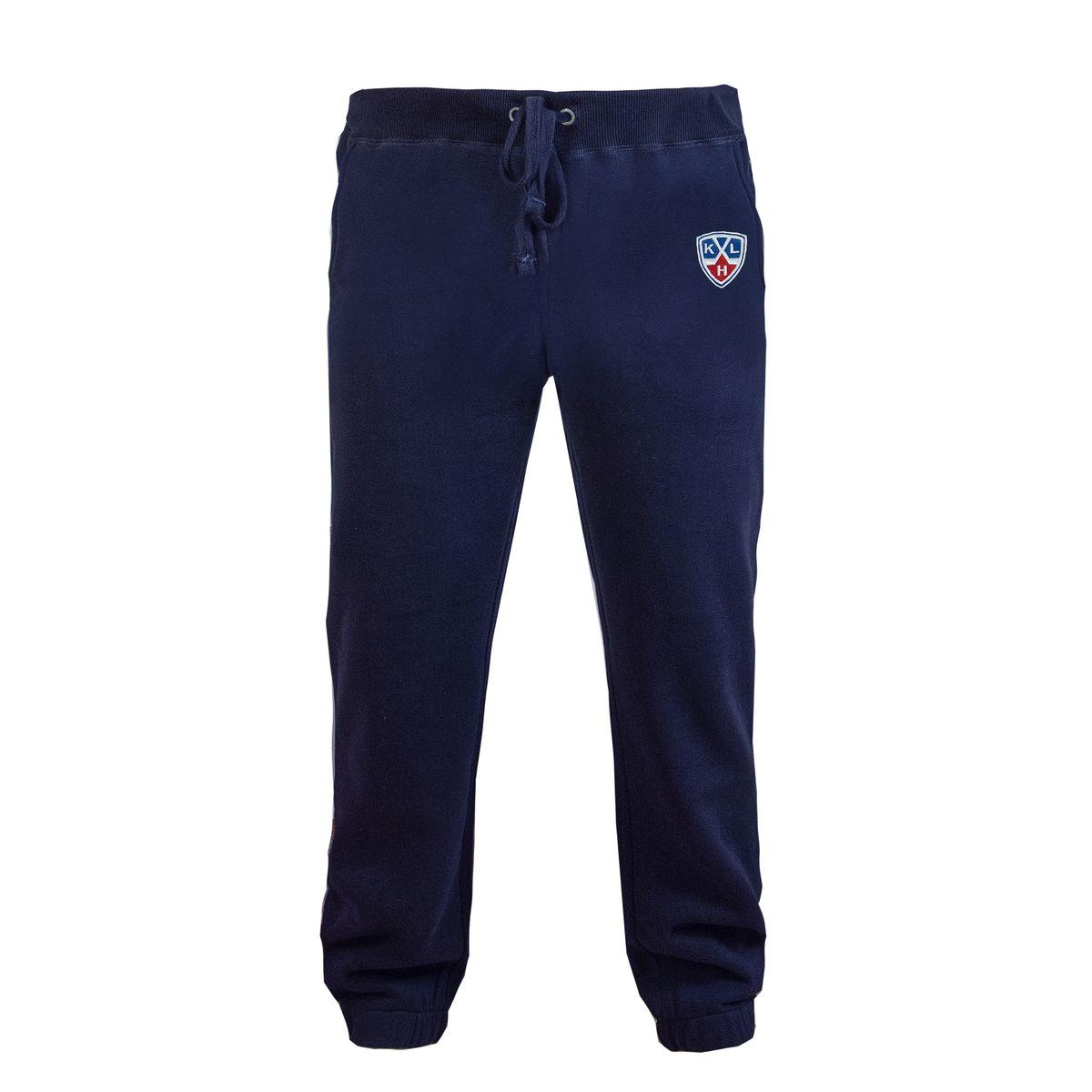 Брюки спортивные детские КХЛ, цвет: темно-синий. 322020. Размер 42322020Спортивные брюки КХЛ с символикой клуба. Изготовлены из плотного трикотажа с мягкой ворсистой внутренней стороной. Дополнены двумя боковыми карманами и вышивкой.