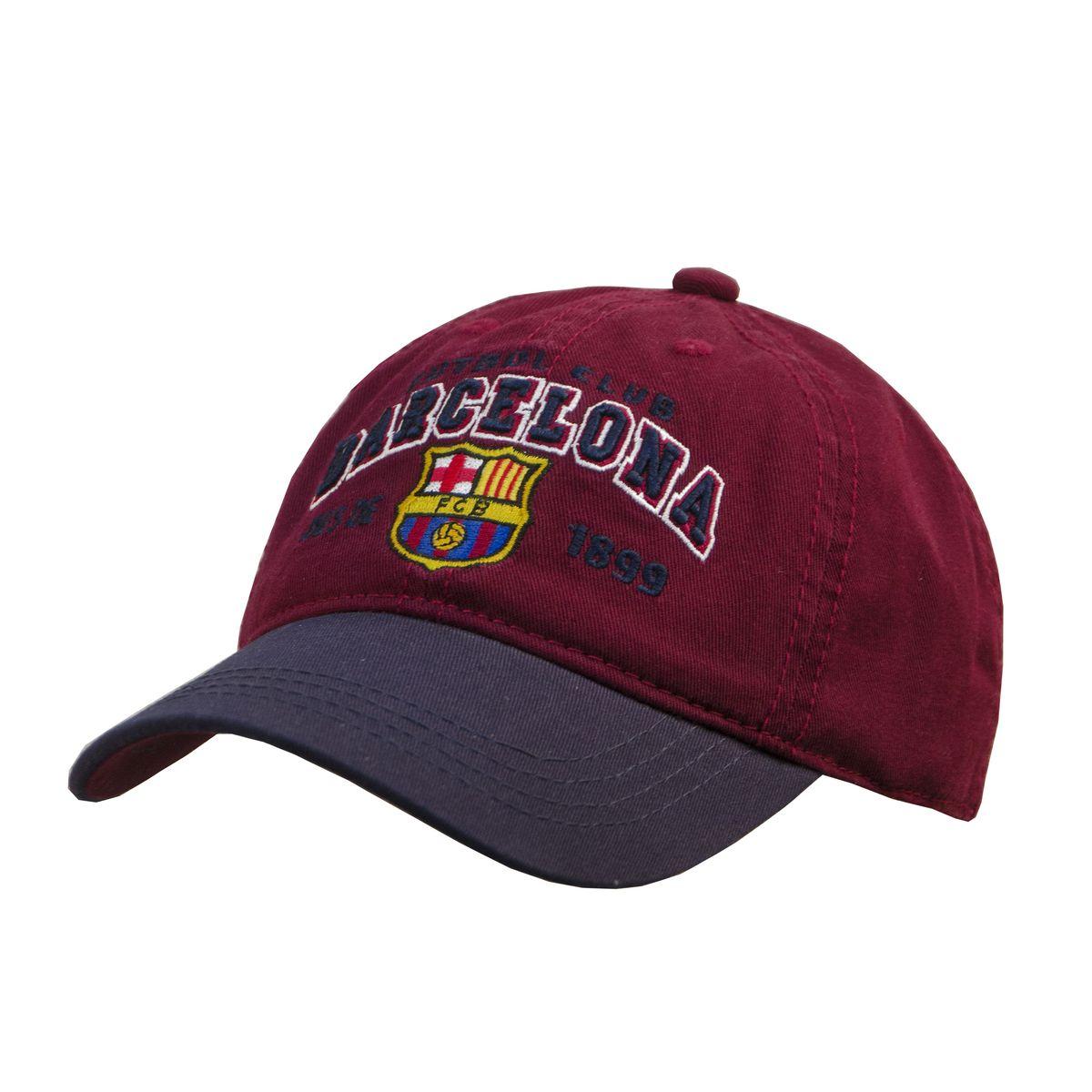 Бейсболка мужская Barcelona FC, цвет: гранатовый. 107713. Размер L/XL (55-58)107713Все изображения - вышиты. Металлический фиксатор с гравировкой логотипа.
