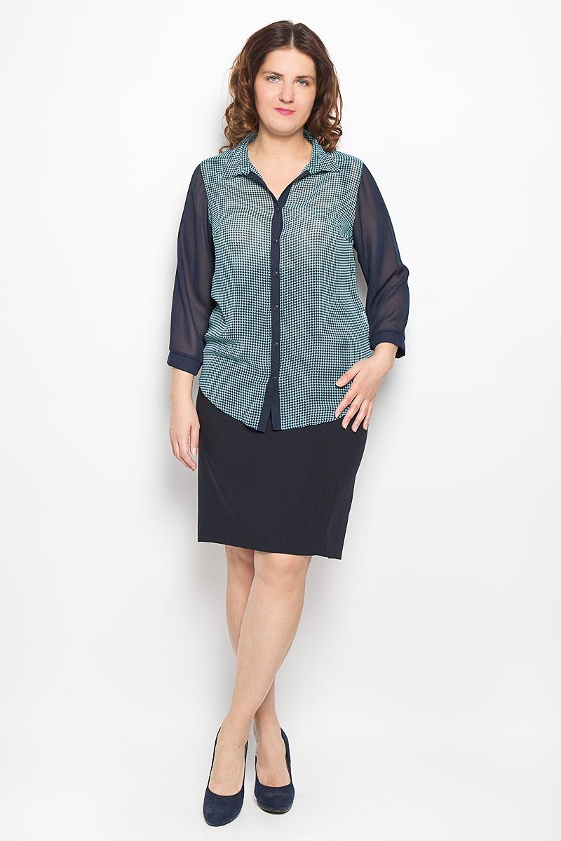 Блузка женская Milana Style, цвет: темно-синий, бирюзовый. 1067-223м. Размер 541067-223мСтильная блузка Milana Style, изготовленная из полупрозрачного синтетического материала ПАН с добавлением эластана, подчеркнет ваш уникальный стиль. Материал легкий, мягкий и приятный на ощупь, не сковывает движения и хорошо вентилируется. Блузка с отложным воротником и рукавами ? спереди застёгивается на пуговицы. Рукава внизу собраны на манжеты и оформлены небольшой складкой. Спереди и по воротнику модель оформлена оригинальным орнаментом. Такая блузка будет дарить вам комфорт в течение всего дня и послужит замечательным дополнением к гардеробу.