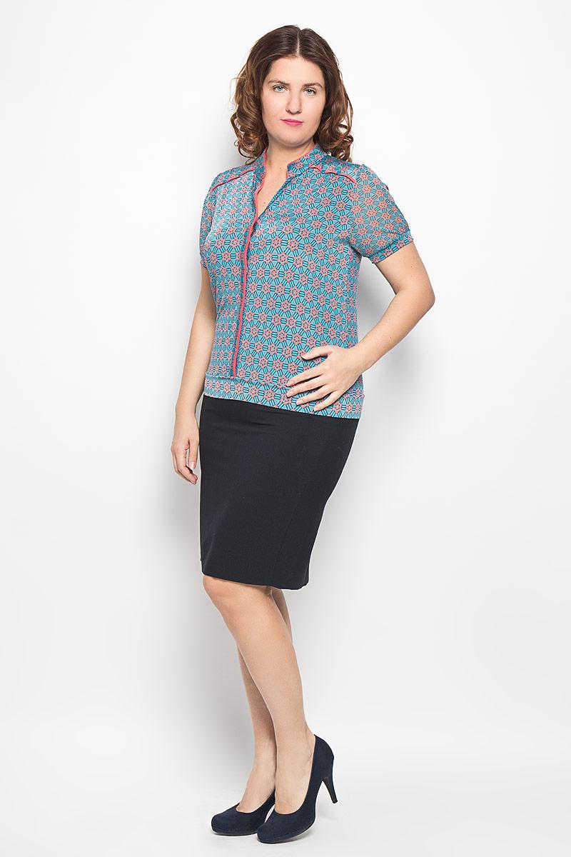 Блузка женская Milana Style, цвет: голубой, персиковый, темно-синий. 1514-625м. Размер 501514-625мСтильная блузка Milana Style, изготовленная из синтетического материала ПАН с добавлением эластана, подчеркнет ваш уникальный стиль. Материал легкий, мягкий и приятный на ощупь, не сковывает движения и хорошо вентилируется. Блузка с воротником-стойкой и короткими рукавами застегивается спереди на пуговицы. Рукава выполнены из полупрозрачной легкой ткани и собраны на эластичные манжеты. Низ изделия также обработан широкой трикотажной манжетой. По всей поверхности блуза оформлена оригинальным орнаментом. Такая блузка будет дарить вам комфорт в течение всего дня и послужит замечательным дополнением к гардеробу.