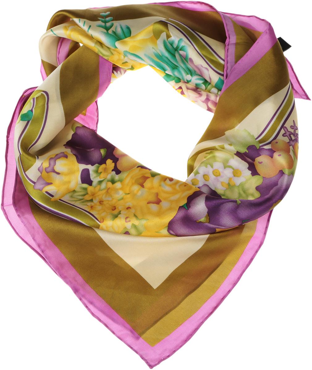 Платок женский Venera, цвет: оливковый, желтый, зеленый, фиолетовый. 1801129-02. Размер 90 см х 90 см1801129-02Нежный шелковый платок Venera станет нарядным аксессуаром, который призван подчеркнуть индивидуальность и очарование женщины. Оригинальный красочный дизайн полотна добавит изысканности и привлечёт всеобщее внимание. Края платка качественно обработаны вручную.Этот модный аксессуар женского гардероба гармонично дополнит образ современной женщины, следящей за своим имиджем и стремящейся всегда оставаться стильной и элегантной.