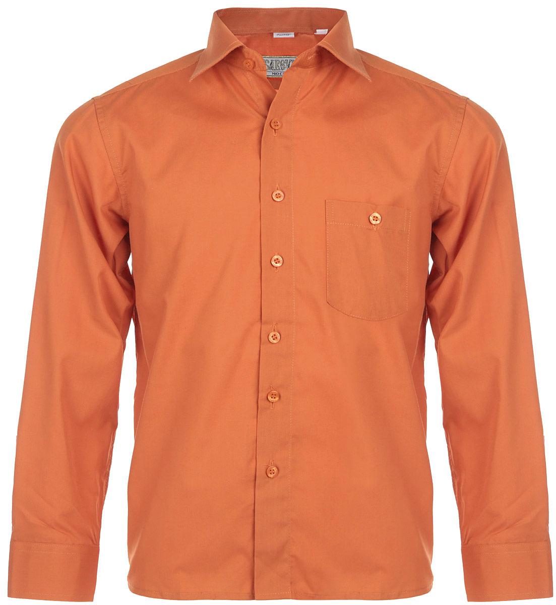 Рубашка для мальчика Tsarevich, цвет: темно-оранжевый. KR-68. Размер 31/134-140, 9-10 летKR-68Стильная рубашка для мальчика Tsarevich идеально подойдет вашему юному мужчине. Изготовленная из хлопка с добавлением полиэстера, она мягкая и приятная на ощупь, не сковывает движения и позволяет коже дышать, не раздражает даже самую нежную и чувствительную кожу ребенка, обеспечивая ему наибольший комфорт. Модель классического кроя с длинными рукавами и отложным воротничком застегивается по всей длине на пуговицы. На груди располагается накладной карман на пуговице. Края рукавов дополнены широкими манжетами на пуговицах. Такая рубашка будет прекрасно смотреться с брюками и джинсами. Она станет неотъемлемой частью детского гардероба.