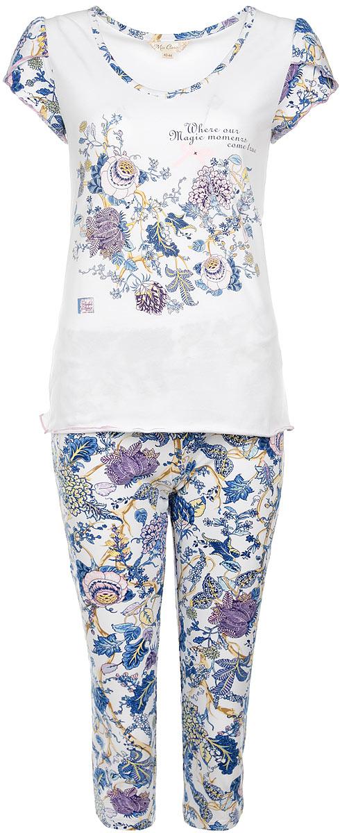 Пижама женская Mia Cara, цвет: белый, синий, розовый. AW15-UAT-LST-284. Размер 54/56AW15-UAT-LST-284Очаровательная женская пижама Mia Cara, состоящая из майки и штанов, идеально подойдет для отдыха и сна. Модель выполнена из высококачественного хлопка, очень мягкая на ощупь, не сковывает движения, хорошо пропускает воздух. В ткань вплетены специальные волокна эластана, которые позволяют создать прилегающий силуэт и обеспечить комфорт. Изделие обладает благородными и стойкими цветами, устойчивыми к воздействиям в процессе использования и стирки. Футболка с V-образным вырезом горловины и короткими рукавами оформлена цветочным принтом. Штаны свободного кроя с широкой эластичной резинкой в поясе. В такой пижаме вам будет максимально комфортно и уютно.