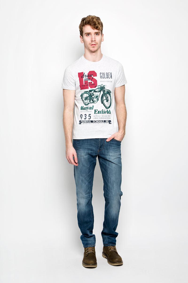 Футболка мужская Sela, цвет: серый меланж, зеленый, красный. Ts-211/1013-6133. Размер S (46)Ts-211/1013-6133Мужская футболка Sela поможет создать отличный современный образ в стиле Casual. Модель, изготовленная на 60% из натурального хлопка и на 40% полиэстера, очень мягкая, тактильно приятная, не сковывает движения и хорошо пропускает воздух. Футболка с круглым вырезом горловины и короткими рукавами оформлена спереди крупным принтом с надписями и изображением мотоцикла. Вырез горловины дополнен трикотажной резинкой. Такая футболка станет стильным дополнением к вашему гардеробу, она подарит вам комфорт в течение всего дня!