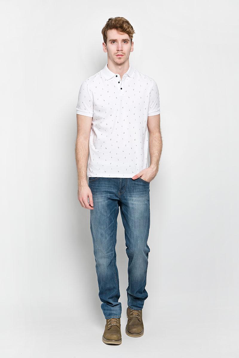 Поло мужское Baon, цвет: белый, черный. B706003. Размер L (50)B706003Стильная мужская футболка-поло Baon изготовленная из натурального хлопка, обладает высокой теплопроводностью, воздухопроницаемостью и гигроскопичностью, позволяет коже дышать.Модель с короткими рукавами и отложным воротником - идеальный вариант для создания оригинального современного образа. Сверху футболка-поло застегивается на 3 пуговицы. Модель оформлена оригинальным рисунком в виде маленьких якорей. В боковых швах обработаны небольшие разрезы.Такая модель подарит вам комфорт в течение всего дня и послужит замечательным дополнением к вашему гардеробу.