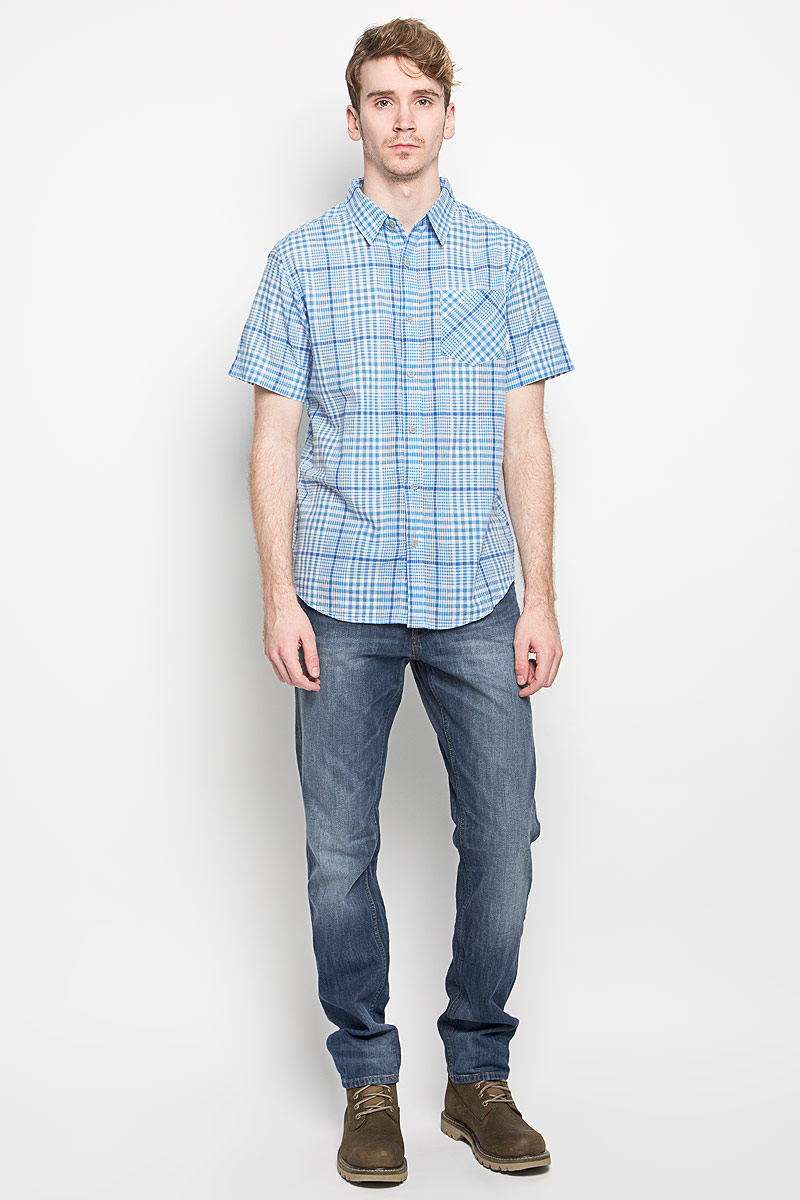 Рубашка мужская Columbia Cape Side SS Shirt, цвет: голубой, белый. 1581291_995. Размер XL (54)