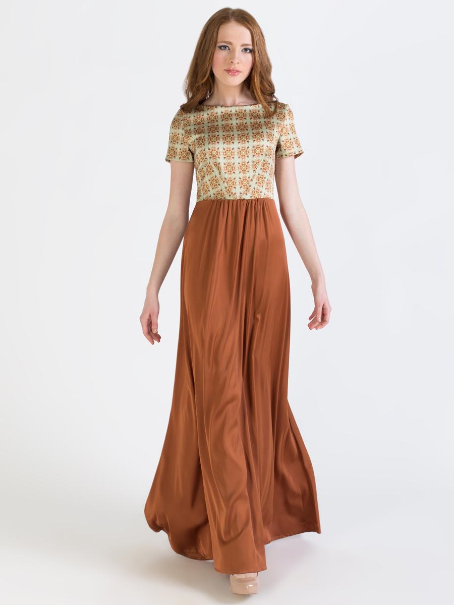 Платье Анна Чапман, цвет: коричневый, светло-зеленый. P41S-3S. Размер 46P41S-3SЭлегантное платье Анна Чапман подарит вам удобство и поможет вам подчеркнуть свой вкус и неповторимый стиль.Модель, выполненная из двух видов ткани, мягкая и приятная на ощупь, хорошо вентилируется. Плотный шелковистый верх идеально подчеркивает фигуру, а легкая отрезная расклешенная юбка изящно струится. Верх украшен орнаментом, а юбка - однотонная. Модель макси длины с круглым вырезом горловины и короткими рукавами на спинке имеет V-образный вырез и застёгивается на потайную застежку-молнию.В таком наряде вы, безусловно, привлечете восхищенные взгляды окружающих.