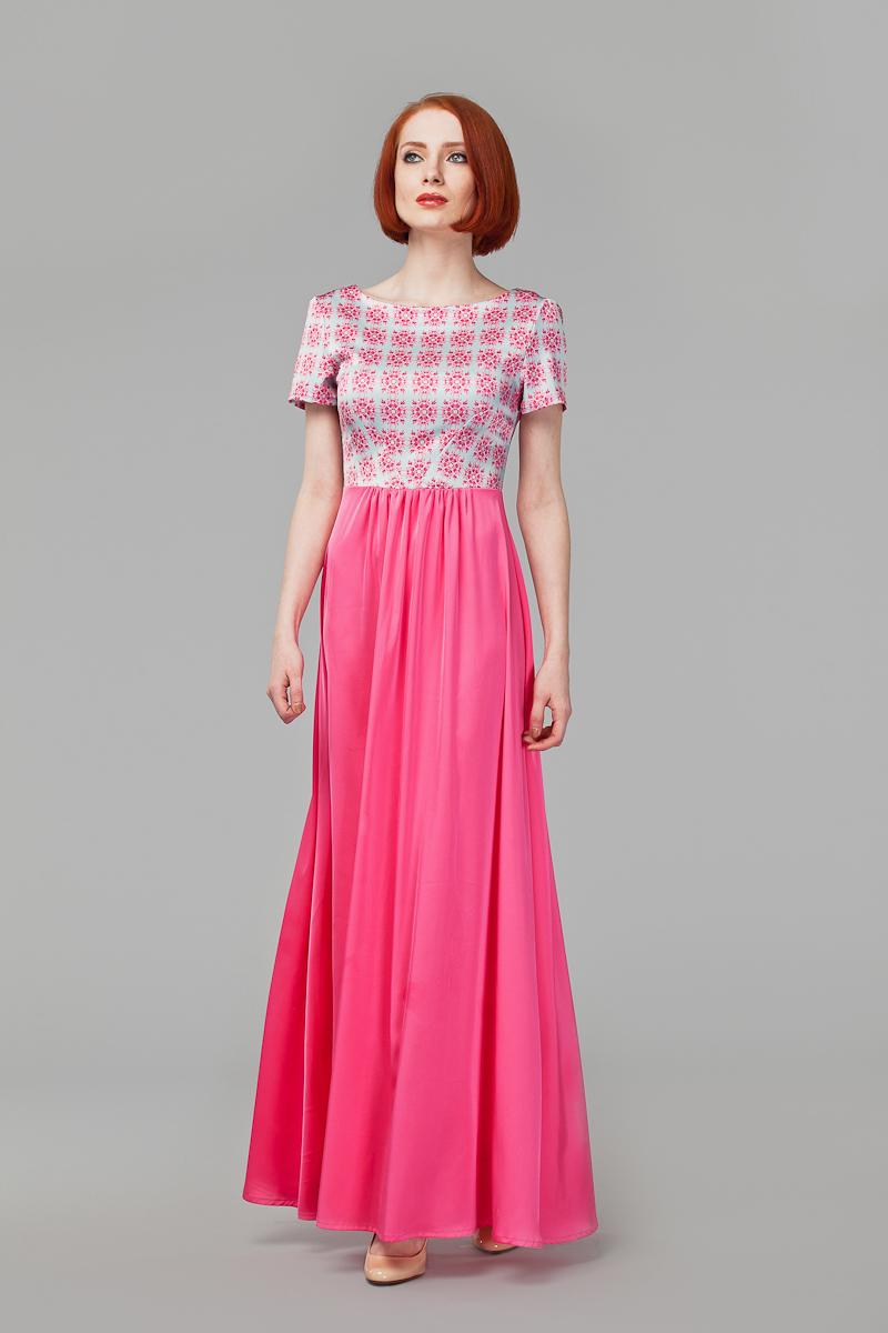 Платье Анна Чапман, цвет: розовый, серый. P41S-5S. Размер 44P41S-5SЭлегантное платье Анна Чапман подарит вам удобство и поможет вам подчеркнуть свой вкус и неповторимый стиль.Модель, выполненная из двух видов ткани, мягкая и приятная на ощупь, хорошо вентилируется. Плотный шелковистый верх идеально подчеркивает фигуру, а легкая отрезная расклешенная юбка изящно струится. Верх украшен орнаментом, а юбка - однотонная. Модель макси длины с круглым вырезом горловины и короткими рукавами на спинке имеет V-образный вырез и застёгивается на потайную застежку-молнию.В таком наряде вы, безусловно, привлечете восхищенные взгляды окружающих.