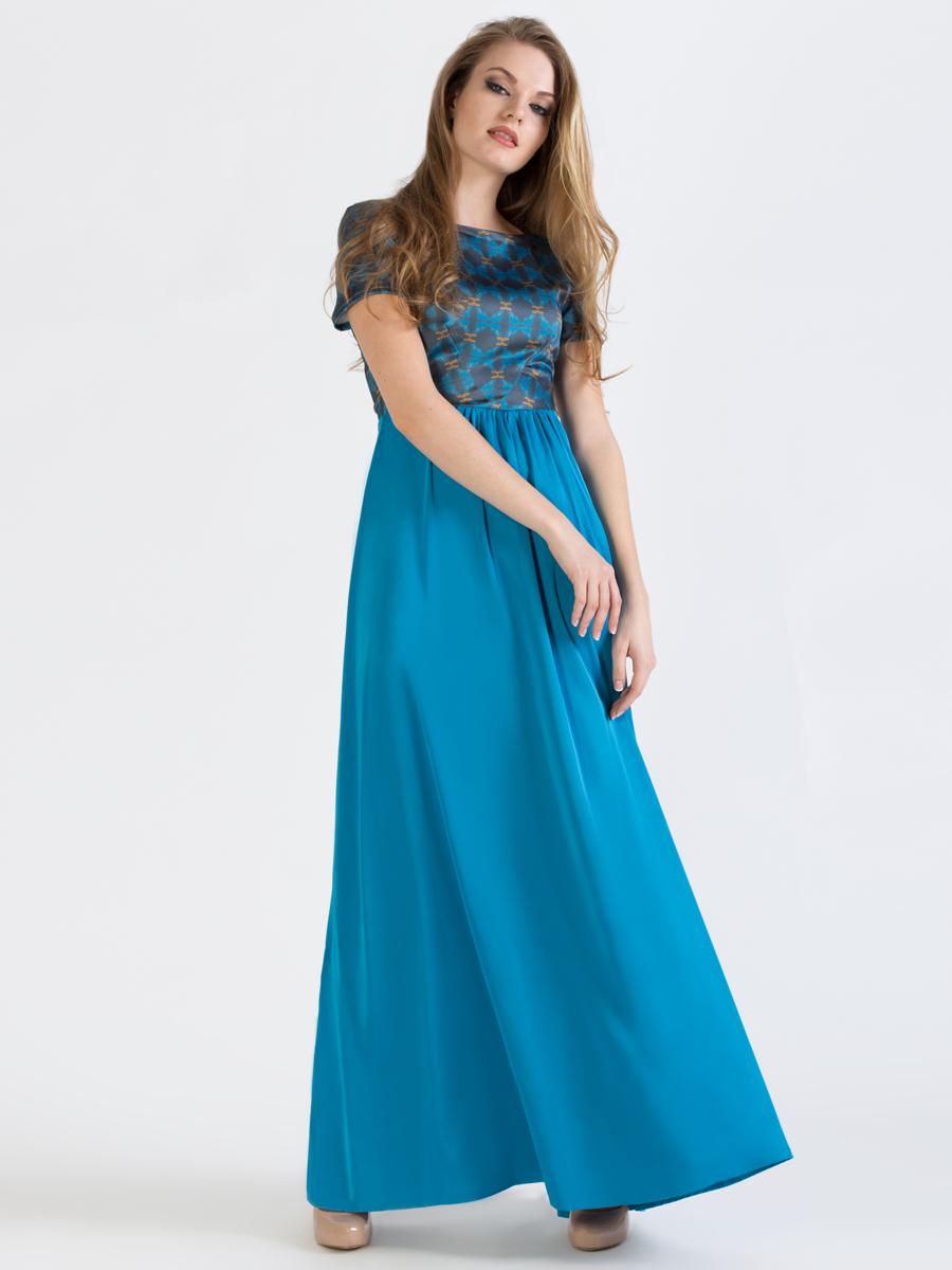 Платье Анна Чапман, цвет: синий. P41S-11S. Размер 42P41S-11SЭлегантное платье Анна Чапман подарит вам удобство и поможет вам подчеркнуть свой вкус и неповторимый стиль.Модель, выполненная из двух видов ткани, мягкая и приятная на ощупь, хорошо вентилируется. Плотный шелковистый верх идеально подчеркивает фигуру, а легкая отрезная расклешенная юбка изящно струится. Верх украшен орнаментом, а юбка - однотонная. Модель макси длины с круглым вырезом горловины и короткими рукавами на спинке имеет V-образный вырез и застёгивается на потайную застежку-молнию.В таком наряде вы, безусловно, привлечете восхищенные взгляды окружающих.