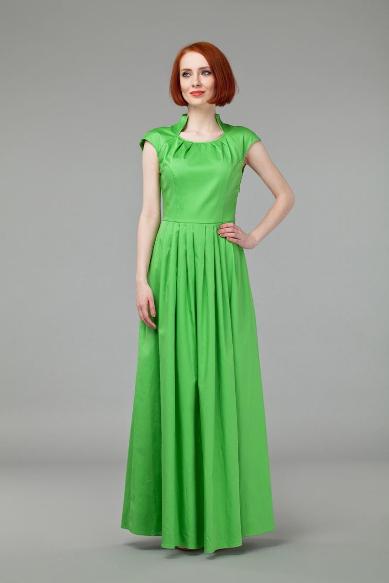 Платье Анна Чапман, цвет: светло-зеленый. P45K-L. Размер 44P45K-LИзящное однотонное платье Анна Чапман, выполненное из эластичного хлопка, идеально сидит благодаря правильным выточкам.Платье-макси приталенного кроя с воротником-стойкой, дополненным круглым вырезом горловины и короткими рукавами-реглан подойдет как для вечернего выхода, так и на каждый день. Изделие застёгивается сбоку на потайную застежку-молнию. Юбка дополнена складками, что придает силуэту еще более утонченный вид и подчеркивает талию. Предусмотрены врезные карманы по бокам. Платье Анна Чапман станет стильным дополнением к вашему базовому гардеробу. В таком наряде вы, безусловно, привлечете восхищенные взгляды окружающих.