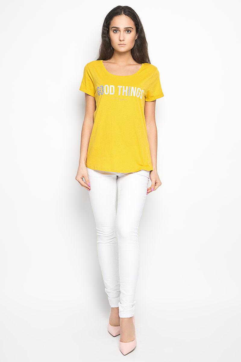 Футболка женская Tom Tailor Denim, цвет: желтый. 1034361.01.71_3549. Размер M (46)1034361.01.71_3549Стильная женская футболка Tom Tailor Denim актуального фасона, выполненная из натурального хлопка, будет отлично на вас смотреться. Модель с круглым вырезом горловины и короткими рукавами оформлена оригинальными надписями. В нижней части футболки выполнена вышивка логотипа бренда. Классический покрой, лаконичный дизайн, безукоризненное качество. Идеальный вариант для тех, кто ценит комфорт и практичность.