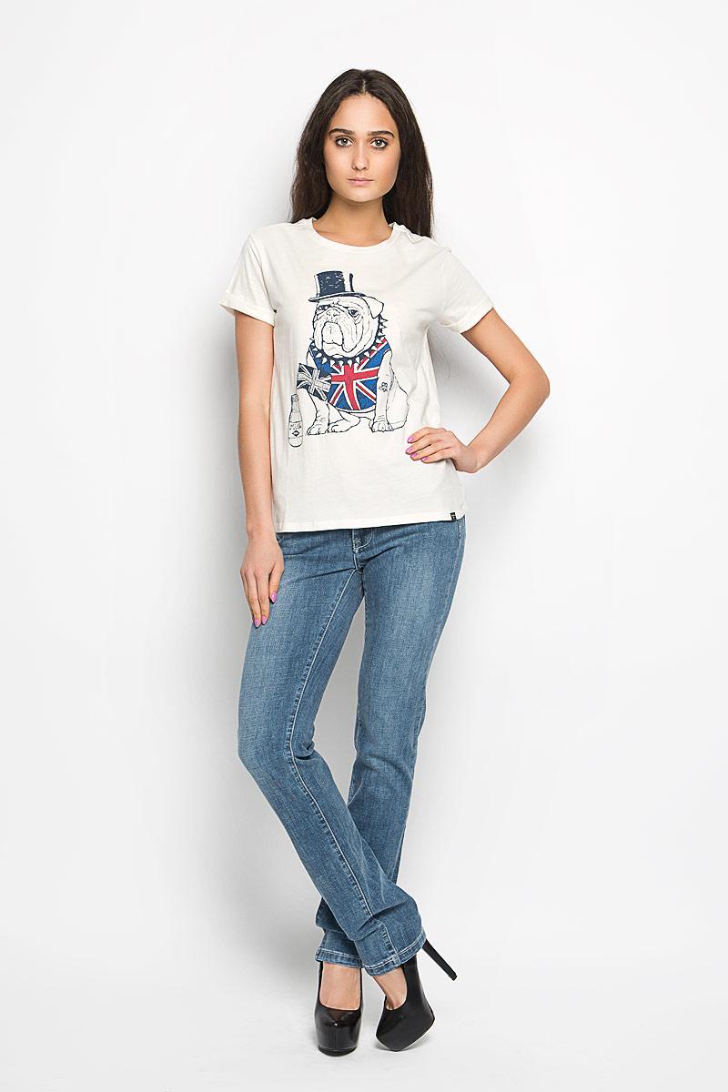 Футболка женская Lee Cooper, цвет: молочный. W28099-0245. Размер S (42)W28099-0245Стильная женская футболка Lee Cooper актуального фасона, выполненная из натурального хлопка, будет отлично на вас смотреться. Модель с круглым вырезом горловины и короткими рукавами с отворотом оформлена красочным изображением собаки. Классический покрой, лаконичный дизайн, безукоризненное качество. Идеальный вариант для тех, кто ценит комфорт и практичность.