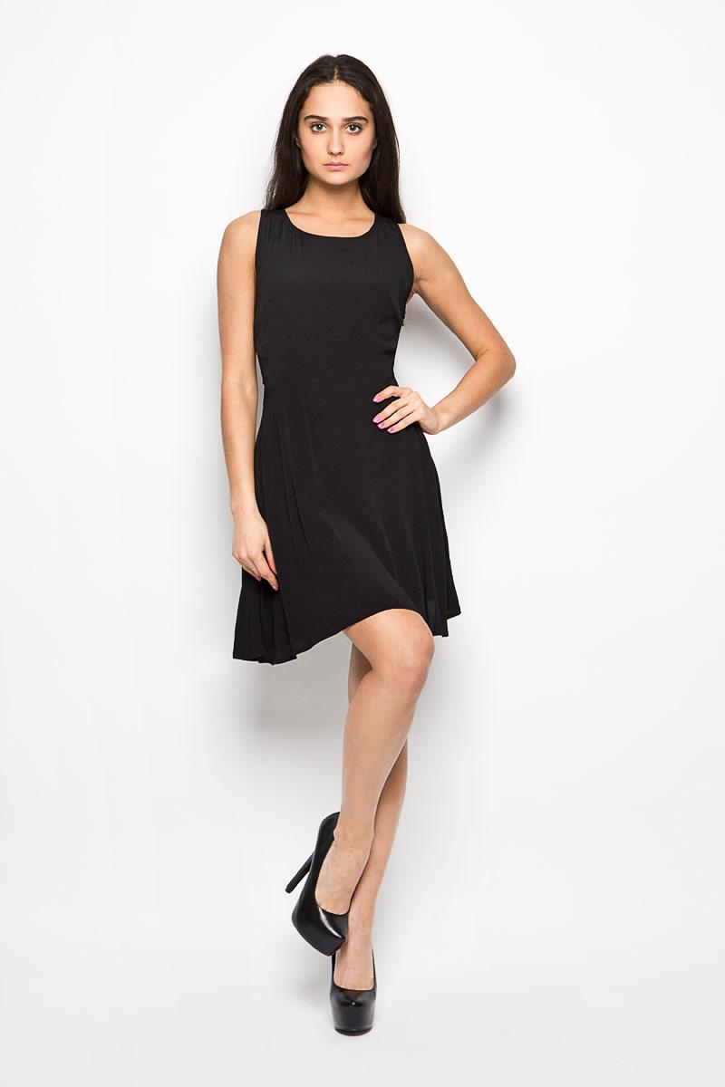 Платье Glamorous, цвет: черный. CK2741. Размер L (48)CK2741_BlackЛегкое платье Glamorous поможет создать привлекательный женственный образ. Изделие выполнено из мягкой вискозы, приятное к телу, не сковывает движения и хорошо вентилируется.Модель с круглым вырезом горловины застегивается сбоку на скрытую молнию. Спинка оформлена декоративным вырезом и дополнена шнуровкой.Это эффектное платье займет достойное место в вашем гардеробе!