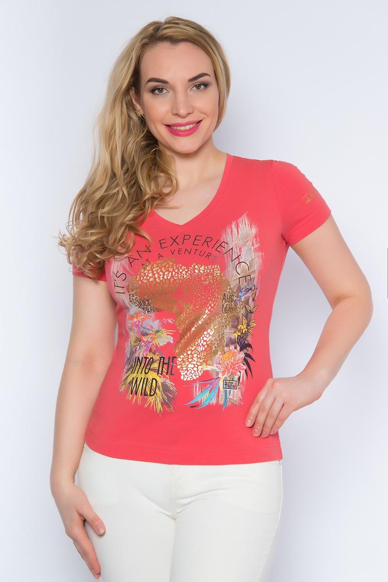 Футболка женская BeGood, цвет: коралловый. SS16-BGUZ-496. Размер 52SS16-BGUZ-496Стильная женская футболка BeGood изготовлена из эластичного хлопка.Приталенная модель с короткими рукавами и V-образным вырезом горловины оформлена оригинальным цветочным принтом.