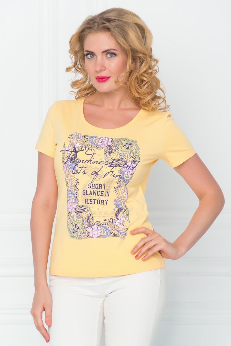 Футболка женская BeGood, цвет: желтый. SS16-BGUZ-547. Размер 52SS16-BGUZ-547Стильная женская футболка BeGood изготовлена из эластичного хлопка.Приталенная модель с круглым вырезом горловины и короткими рукавами на груди оформлена оригинальным принтом и декорирована стразами.