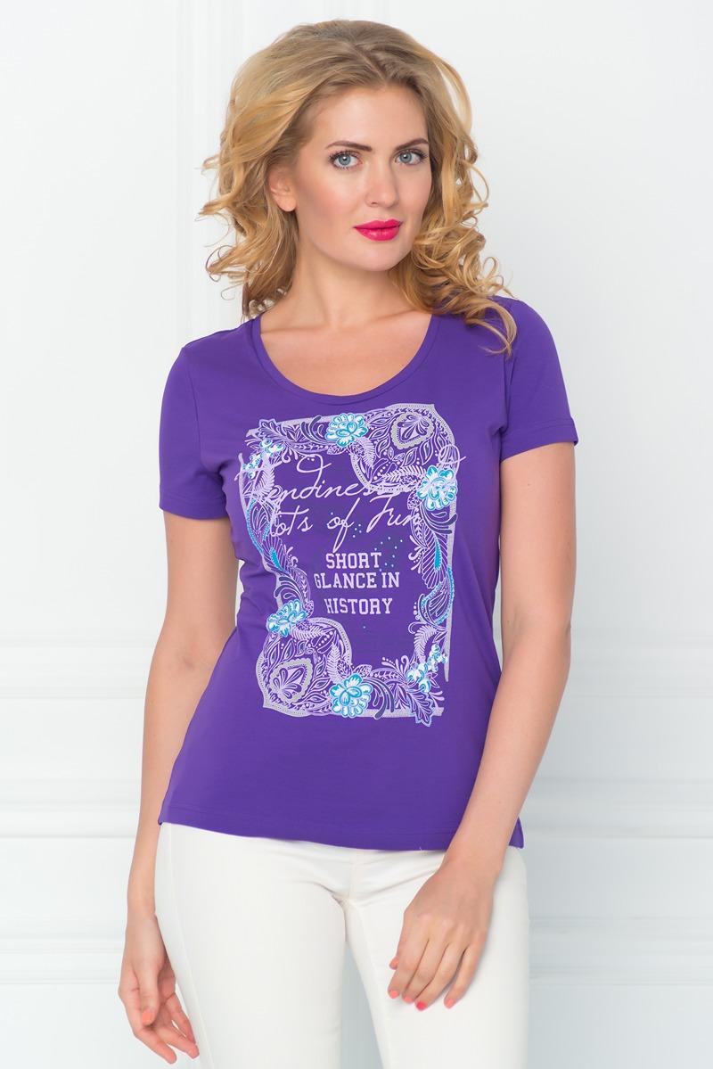 Футболка женская BeGood, цвет: фиолетовый. SS16-BGUZ-547. Размер 44SS16-BGUZ-547Стильная женская футболка BeGood изготовлена из эластичного хлопка.Приталенная модель с круглым вырезом горловины и короткими рукавами на груди оформлена оригинальным принтом и декорирована стразами.