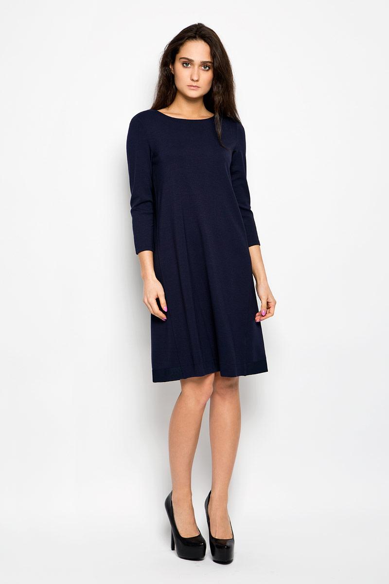 Платье Marc O`Polo, цвет: темно-синий. 303159015. Размер 38 (42)303159015Платье Marc O`Polo станет стильным дополнением к вашему гардеробу. Изделие выполнено из мягкой эластичной вискозы с добавлением полиамида, приятное к телу, не сковывает движения и хорошо вентилируется.Модель с круглым вырезом горловины и рукавами 3/4 имеет трапециевидный крой. По низу изделие дополнено текстильной вставкой с фактурной поверхностью. Это эффектное платье поможет создать привлекательный женственный образ.