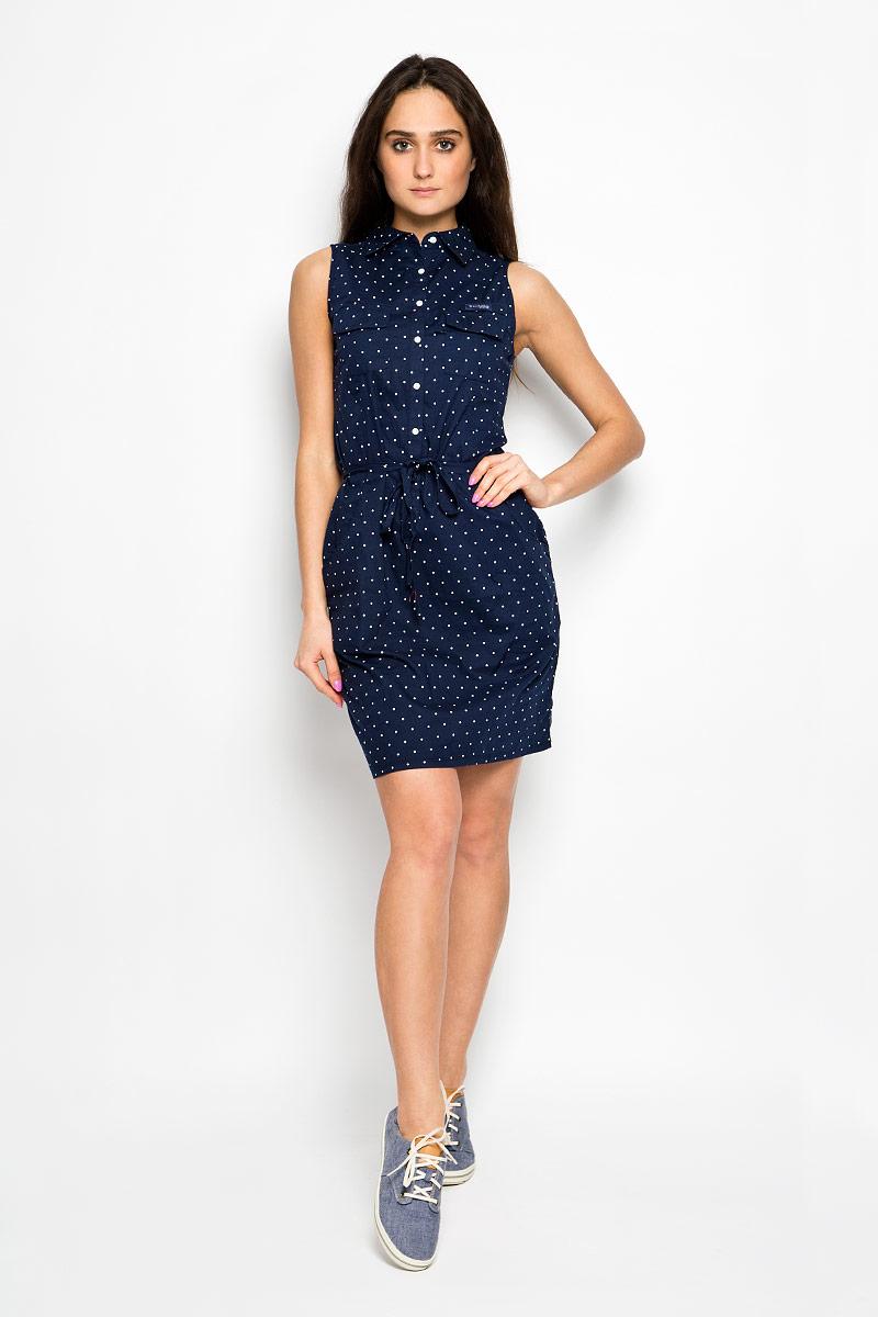 Платье Columbia Super Bonehead II Sleeveless Dress, цвет: темно-синий. 1577611-464. Размер M (46)1577611-464Элегантное платье Columbia Super Bonehead II Sleeveless Dress выполнено из натурального хлопка. Такое платье обеспечит вам комфорт и удобство при носке.Модель приталенного кроя с отложным воротником застегивается на пластиковые пуговицы. На груди платье украшено хлястиком на липучке с фирменной нашивкой. Дополнена модель двумя накладными карманами на липучках и двумя втачными карманами. Оформлено изделие принтом в горох. В комплект входит тонкий пояс.Это модное и удобное платье станет превосходным дополнением к вашему гардеробу, оно подарит вам удобство и поможет вам подчеркнуть свой вкус и неповторимый стиль.