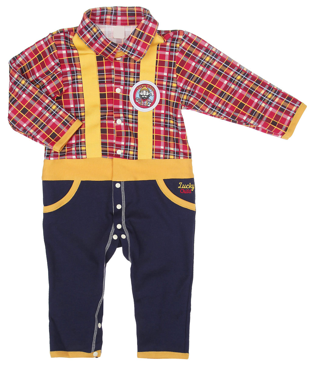 Комбинезон для мальчика Lucky Child Мужички, цвет: красный, желтый, темно-синий. 27-1ф. Размер 56/62, 0-3 месяца27-1фКомбинезон для мальчика Lucky Child Мужички полностью соответствует особенностям жизни ребенка в ранний период, не стесняя и не ограничивая его в движениях. Выполненный из натурального хлопка, он очень мягкий на ощупь, не раздражает нежную и чувствительную кожу малыша, позволяя ей дышать. Изнаночная сторона имеет приятный к телу начес. Комбинезон с отложным воротником, длинными рукавами и открытыми ножками застегивается от горловины до щиколоток на кнопки, проходящие по обеим ножкам, что поможет легко переодеть ребенка или сменить подгузник. Спереди изделие дополнено имитацией двух втачных карманов. Верхняя часть модели оформлена принтом в клетку. На груди изделие декорировано двумя контрастными планками, имитирующими подтяжки, и украшено фирменной текстильной нашивкой. Комфортный и уютный комбинезон станет незаменимым дополнением к гардеробу вашего ребенка.