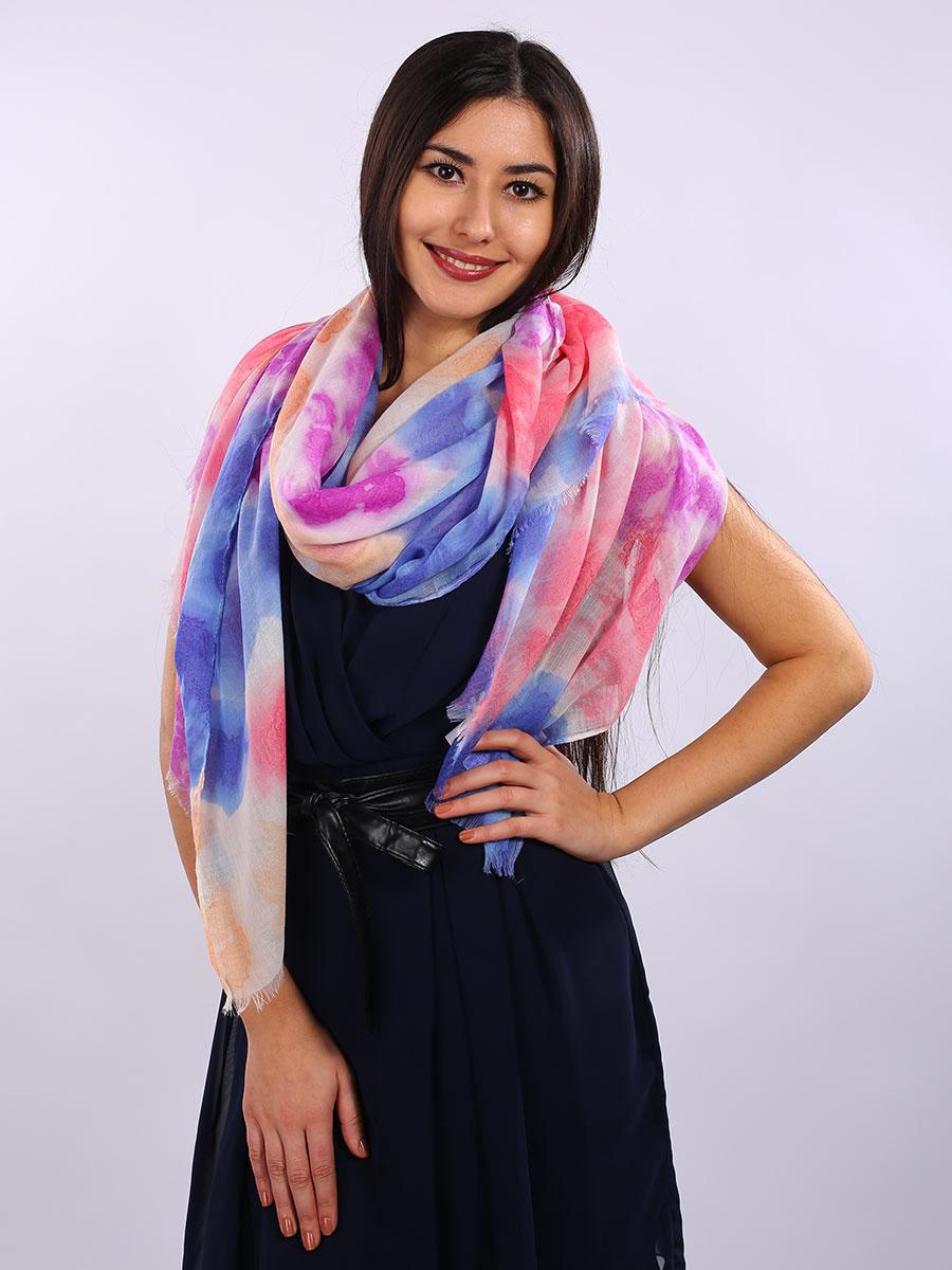 Палантин женский Venera, цвет: розовый, голубой, белый. 3413301-10. Размер 90 см х 180 см3413301-10Элегантный палантин Venera согреет вас в непогоду и станет достойным завершением вашего образа.Палантин изготовлен из 100% вискозы. Легкий и приятный на ощупь палантин классического кроя украшен оригинальным принтом. Края оформлены бахромой. Палантин красиво драпируется, он превосходно дополнит любой наряд и подчеркнет ваш изысканный вкус.Легкий и изящный палантин привнесет в ваш образ утонченность и шарм.