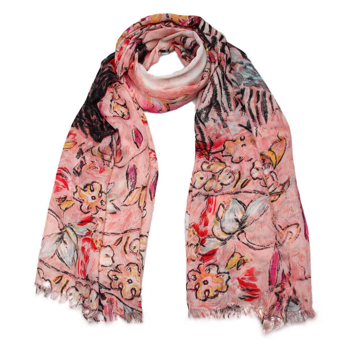 Палантин женский Venera, цвет: розовый, мультиколор. 3415201-05. Размер 90 см х 180 см3415201-05Элегантный женский палантин Venera изготовленный из вискозы, станет идеальным украшением для наряда нежной, тонкой и романтичной натуры. Палантин имеет отличное качество и приятную текстуру материала, он подарит настоящий комфорт при носке, а большие размеры позволят завязать изделие множеством вариантов. Изделие оформлено оригинальным принтом в пастельных тонах и декорировано бахромой.В этом палантине вы всегда будете выглядеть женственной и привлекательной.