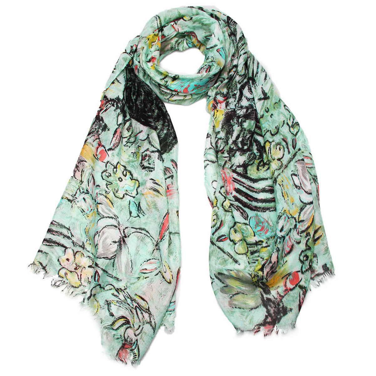 Палантин женский Venera, цвет: зеленый, мультиколор. 3415201-14. Размер 90 см х 180 см3415201-14Элегантный женский палантин Venera изготовленный из вискозы, станет идеальным украшением для наряда нежной, тонкой и романтичной натуры. Палантин имеет отличное качество и приятную текстуру материала, он подарит настоящий комфорт при носке, а большие размеры позволят завязать изделие множеством вариантов. Изделие оформлено оригинальным принтом в пастельных тонах и декорировано бахромой.В этом палантине вы всегда будете выглядеть женственной и привлекательной.