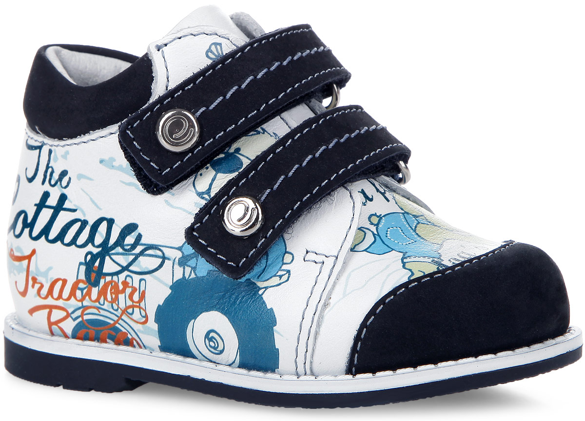 Ботинки для мальчика Elegami, цвет: белый, чернильный, мультиколор. 7-805951502. Размер 217-805951502Очаровательные ботинки от Elegami приведут в восторг вашего малыша! Модель выполнена из натуральной кожи со вставками из натурального нубука. Обувь оформлена принтом с изображением забавного щенка, на ремешках - фирменными металлическими пластинами. Два ремешка на застежках-липучках прочно зафиксируют модель на ноге. Стелька EVA с поверхностью из натуральной кожи дополнена супинатором, который обеспечивает правильное положение ноги ребенка при ходьбе, предотвращает плоскостопие. Подошва с рифлением обеспечивает отличное сцепление с поверхностью. Удобные и модные ботинки - необходимая вещь в гардеробе каждого ребенка.
