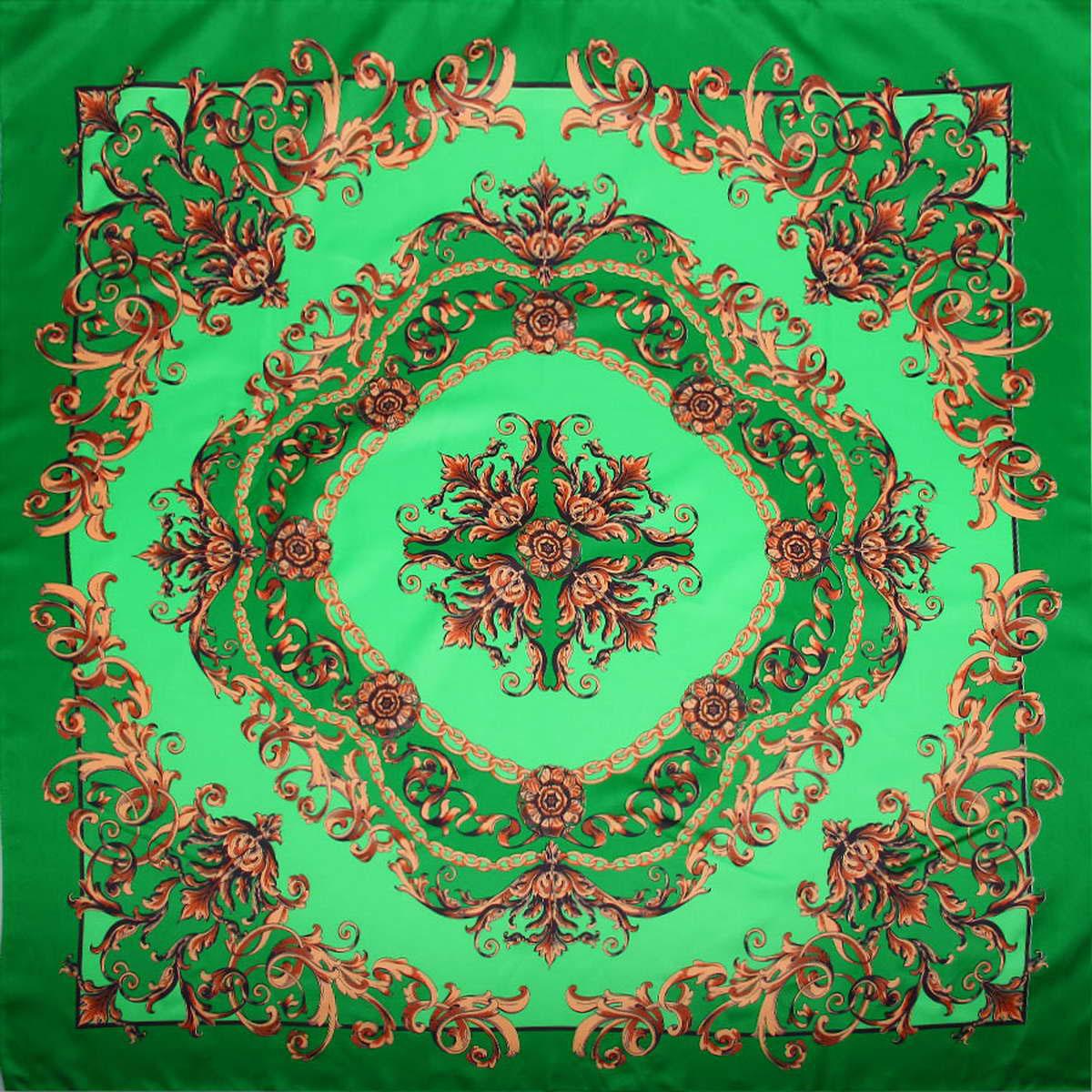 Платок женский Venera, цвет: зеленый. 3904472-3. Размер 90 см х 90 см3904472-3Стильный женский платок Venera изготовлен из качественного и легкого полиэстера, будет самым универсальным вариантом для повседневного аксессуара.Великолепный насыщенный цвет и оригинальный принт, напоминающий узор аристократичного стиля, будут придавать любому вашему наряду изысканности, подчеркивать женственность и стильность.Классическая квадратная форма позволяет носить платок на шее, украшать им прическу или декорировать сумочку.Такой платок превосходно дополнит любой наряд и подчеркнет ваш неповторимый вкус и элегантность.