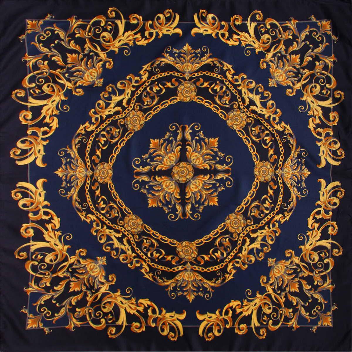 Платок женский Venera, цвет: темно-синий. 3904472-4. Размер 90 см х 90 см3904472-4Стильный женский платок Venera изготовлен из качественного и легкого полиэстера, будет самым универсальным вариантом для повседневного аксессуара.Великолепный насыщенный цвет и оригинальный принт, напоминающий узор аристократичного стиля, будут придавать любому вашему наряду изысканности, подчеркивать женственность и стильность.Классическая квадратная форма позволяет носить платок на шее, украшать им прическу или декорировать сумочку.Такой платок превосходно дополнит любой наряд и подчеркнет ваш неповторимый вкус и элегантность.