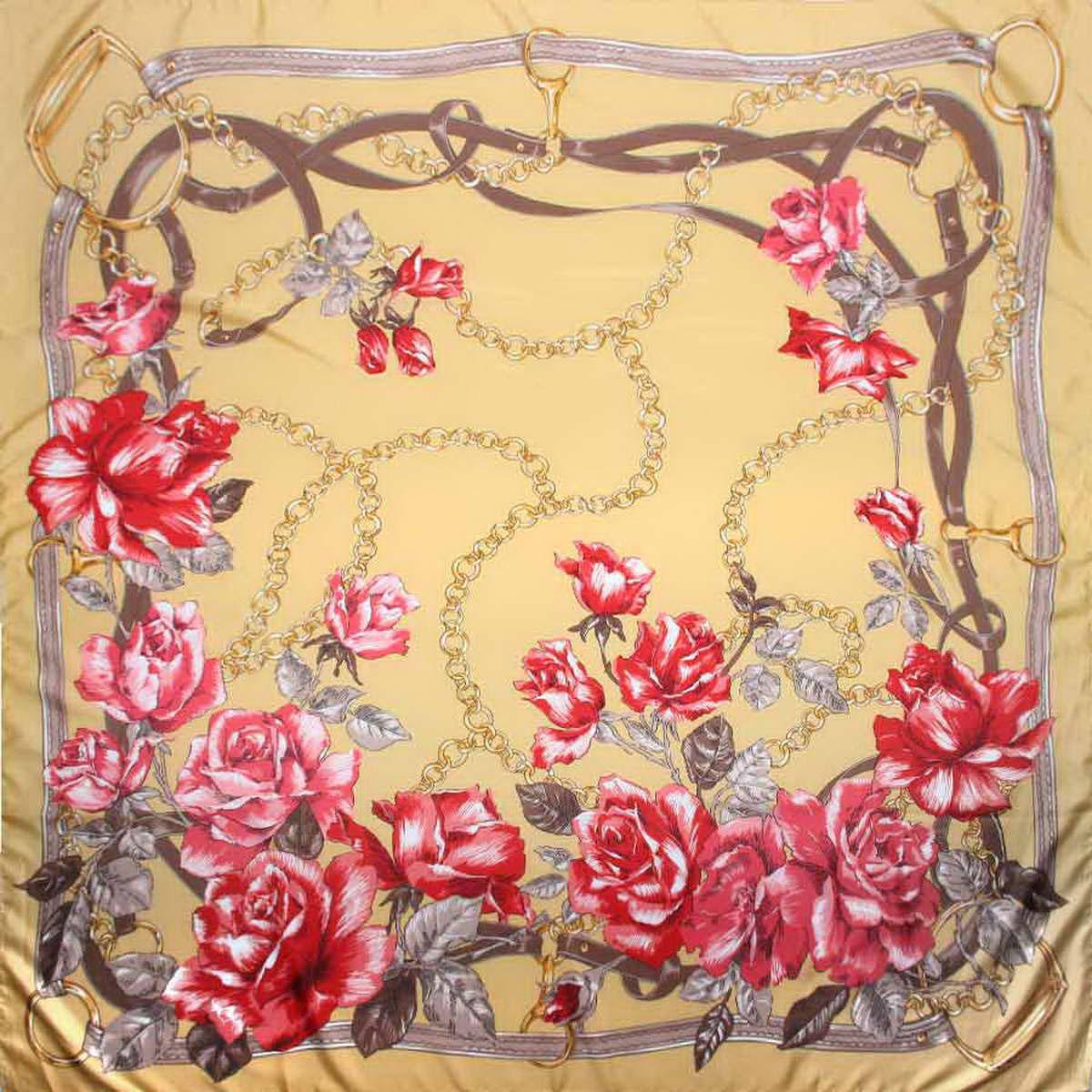 Платок женский Venera, цвет: бежевый, розовый, коричневый. 3904672-20. Размер 120 см х 120 см3904672-20Изысканный и аристократично шикарный женский платок Venera изготовлен из легкого и нежного полиэстера, станет самым популярным и неповторимым аксессуаром в этом сезоне. Спокойная и универсальная цветовая гамма, а также рисунок из красивых роз придаст вашему образу женственности, утонченности и деликатности. Классическая квадратная форма позволяет носить платок на шее, украшать им прическу или декорировать сумочку.Платок Venera превосходно дополнит любой наряд и подчеркнет ваш неповторимый вкус и элегантность.