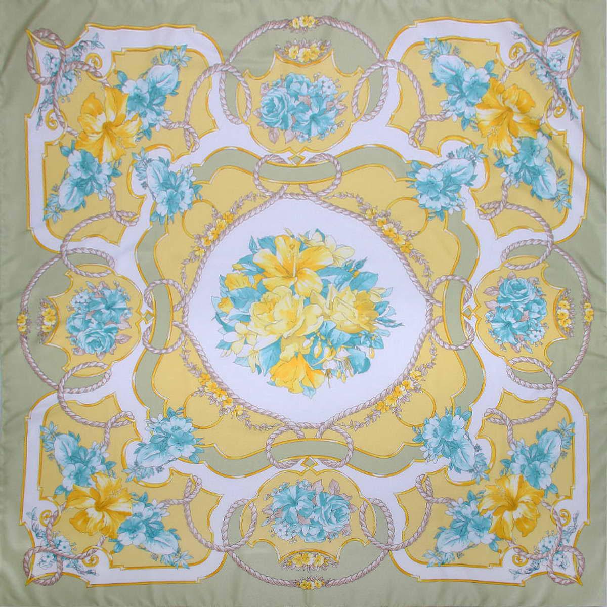 Платок женский Venera, цвет: светло-оливковый, бирюзовый, желтый. 3904972-9. Размер 90 см х 90 см3904972-9Стильный женский платок Venera станет великолепным завершением любого наряда. Платок, изготовленный из полиэстера, оформлен цветочным принтом. Классическая квадратная форма позволяет носить платок на шее, украшать им прическу или декорировать сумочку. Легкий и приятный на ощупь платок поможет вам создать изысканный женственный образ. Такой платок превосходно дополнит любой наряд и подчеркнет ваш неповторимый вкус и элегантность.