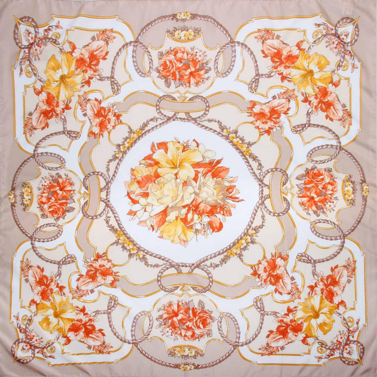 Платок женский Venera, цвет: бежевый, желтый, красный. 3904972-10. Размер 90 см х 90 см3904972-10Стильный женский платок Venera станет великолепным завершением любого наряда. Платок, изготовленный из полиэстера, оформлен цветочным принтом. Классическая квадратная форма позволяет носить платок на шее, украшать им прическу или декорировать сумочку. Легкий и приятный на ощупь платок поможет вам создать изысканный женственный образ. Такой платок превосходно дополнит любой наряд и подчеркнет ваш неповторимый вкус и элегантность.