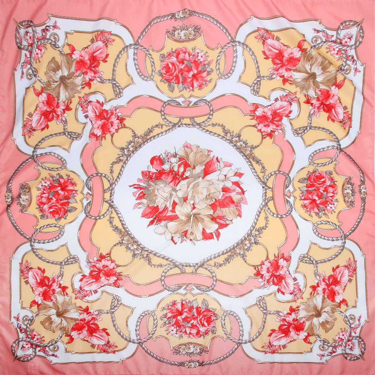 Платок женский Venera, цвет: розовый, бежевый, красный. 3904972-11. Размер 90 см х 90 см3904972-11Стильный женский платок Venera станет великолепным завершением любого наряда. Платок, изготовленный из полиэстера, оформлен цветочным принтом. Классическая квадратная форма позволяет носить платок на шее, украшать им прическу или декорировать сумочку. Легкий и приятный на ощупь платок поможет вам создать изысканный женственный образ. Такой платок превосходно дополнит любой наряд и подчеркнет ваш неповторимый вкус и элегантность.