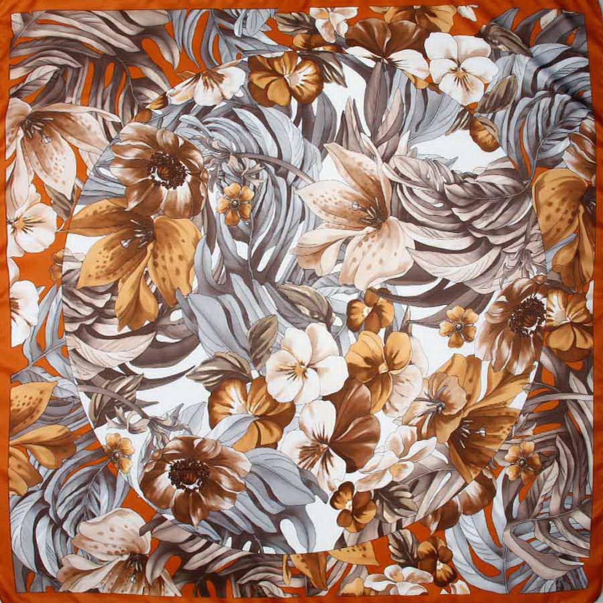 Платок женский Venera, цвет: коричневый, серый, белый. 3904972-30. Размер 90 см х 90 см3904972-30Стильный женский платок Venera станет великолепным завершением любого наряда. Платок, изготовленный из полиэстера, оформлен цветочный принтом. Классическая квадратная форма позволяет носить платок на шее, украшать им прическу или декорировать сумочку. Легкий и приятный на ощупь платок поможет вам создать изысканный женственный образ. Такой платок превосходно дополнит любой наряд и подчеркнет ваш неповторимый вкус и элегантность.