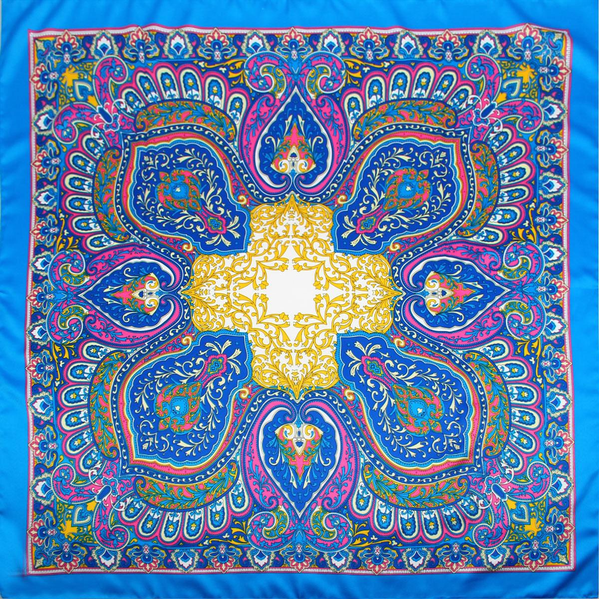 Платок женский Venera, цвет: ярко-голубой, розовый, желтый. 3906133-12. Размер 90 см х 90 см3906133-12Изысканный и невероятно красивый женский платок Venera изготовлен из нежного и легкого полиэстера, станет умопомрачительным аксессуаром для нежной и романтичной женщины, которая всегда стремиться произвести эффект на окружающих. Этот замечательный платок с деликатным восточным рисунком добавит образу экзотичности, восточного шарма и великолепия.Классическая квадратная форма позволяет носить платок на шее, украшать им прическу или декорировать сумочку.Такой платок превосходно дополнит любой наряд и подчеркнет ваш неповторимый вкус и элегантность.