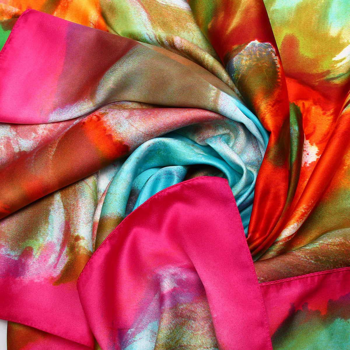 Платок женский Venera, цвет: розовый, оранжевый, голубой. 3906233-2. Размер 90 см х 90 см3906233-2Изысканный и невероятно красивый женский платок Venera изготовлен из нежного и легкого полиэстера, станет замечательным украшением для любого вашего наряда. Романтичный платок очень красивой цветовой гаммы, украшен принтом с большими цветами. Этот платок будет долго радовать свою обладательницу и придаст наряду изысканности, утонченности и великолепия. Классическая квадратная форма позволяет носить платок на шее, украшать им прическу или декорировать сумочку.Платок Venera превосходно дополнит любой наряд и подчеркнет ваш неповторимый вкус и элегантность.
