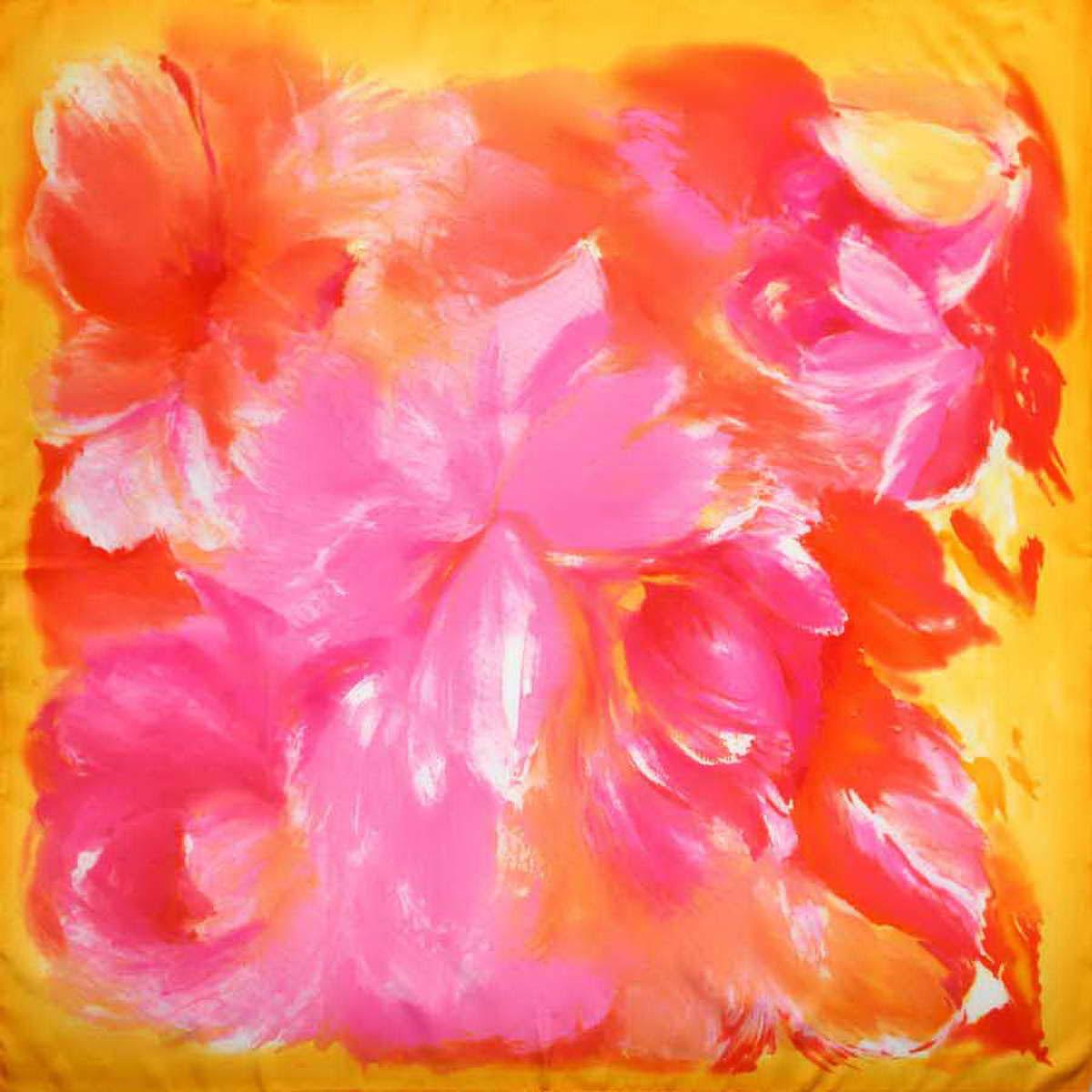 Платок женский Venera, цвет: розовый, желтый, оранжевый. 3906233-3. Размер 90 см х 90 см3906233-3Изысканный и невероятно красивый женский платок Venera изготовлен из нежного и легкого полиэстера, станет замечательным украшением для любого вашего наряда. Романтичный платок очень красивой цветовой гаммы, украшен принтом с большими цветами. Этот платок будет долго радовать свою обладательницу и придаст наряду изысканности, утонченности и великолепия. Классическая квадратная форма позволяет носить платок на шее, украшать им прическу или декорировать сумочку.Платок Venera превосходно дополнит любой наряд и подчеркнет ваш неповторимый вкус и элегантность.