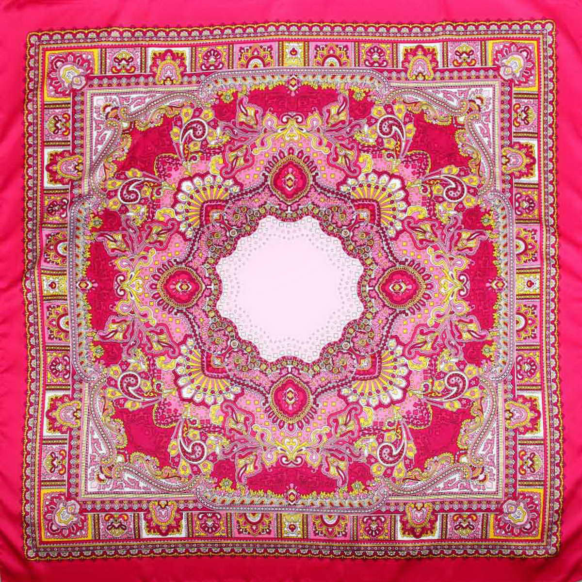 Платок женский Venera, цвет: фуксия, розовый, желтый. 3906633-07. Размер 90 см х 90 см3906633-07Стильный женский платок Venera изготовлен из качественного и легкого полиэстера, будет самым универсальным вариантом для повседневного аксессуара.Насыщенная цветовая палитра и замечательный принт восточного стиля, добавят вашему образу загадочности и экзотического шарма.Классическая квадратная форма позволяет носить платок на шее, украшать им прическу или декорировать сумочку.Такой платок превосходно дополнит любой наряд и подчеркнет ваш неповторимый вкус и элегантность.