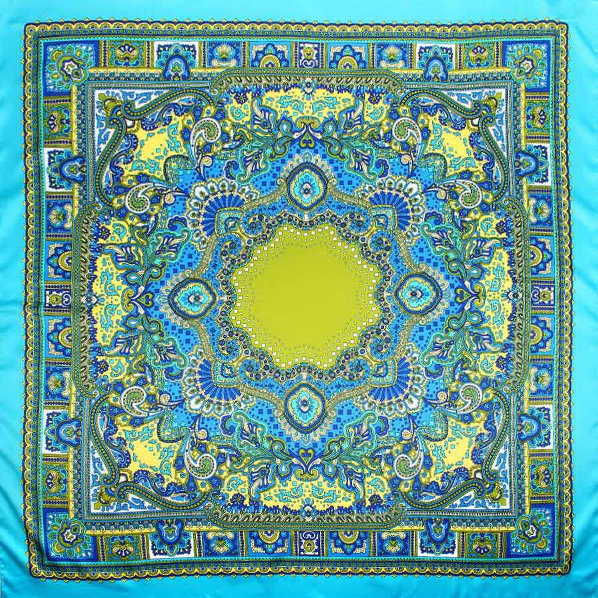 Платок женский Venera, цвет: бирюзовый, синий, зеленый. 3906633-13. Размер 90 см х 90 см3906633-13Стильный женский платок Venera изготовлен из качественного и легкого полиэстера, будет самым универсальным вариантом для повседневного аксессуара.Насыщенная цветовая палитра и замечательный принт восточного стиля, добавят вашему образу загадочности и экзотического шарма.Классическая квадратная форма позволяет носить платок на шее, украшать им прическу или декорировать сумочку.Такой платок превосходно дополнит любой наряд и подчеркнет ваш неповторимый вкус и элегантность.